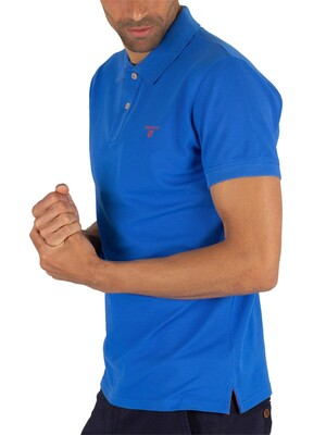 Gant Contrast Collar Pique Rugger Poloshirt - Lake Blue