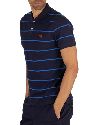 Gant Contrast Stripe Pique Rugger Poloshirt - Evening Blue