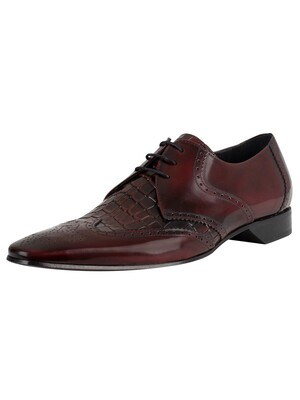 Jeffery West Leather Derby Shoes - Burgundy