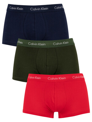 Calvin Klein 3 Pack Low Rise Trunks - Lollipop/Duffle Bag/Peacoat