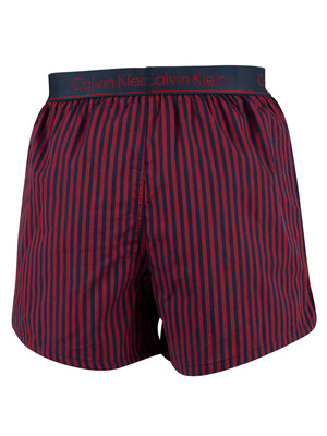Calvin Klein Slim Fit Woven Boxers - Traditional Stripe Rio Red