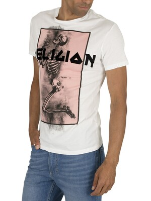 Religion Champ Straight Hem T-Shirt - Pink/White