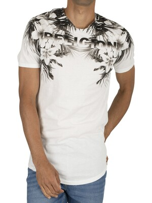 Religion Hawaii Curved Hem T-Shirt - White