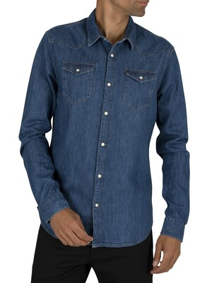 Scotch & Soda Ams Blauw Denim Shirt - Blue