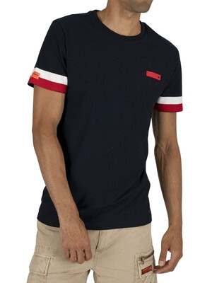 Superdry International Engineered T-Shirt - Tri Colour Navy