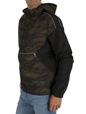Superdry Jared Overhead Cagoule Jacket - Black/Camo