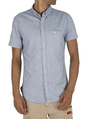 Superdry Premium University Jet Short Sleeve Shirt - Walter Tri Chambray
