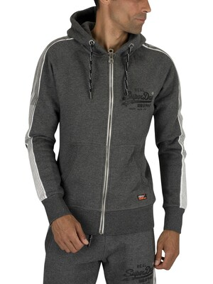 Superdry Vintage Logo 1st Zip Hoodie - Charcoal Heather Grit