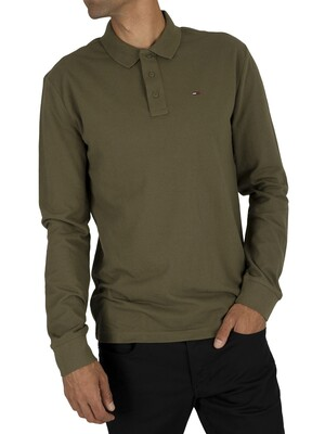 Tommy Jeans Essential Longsleeved Poloshirt - Olive Night