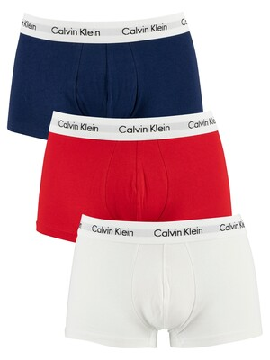 Calvin Klein 3 Pack Low Rise Trunks - White/Red Ginger/Pyro Blue