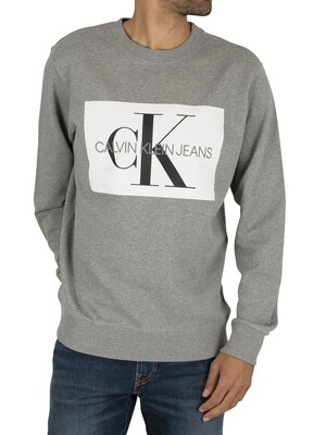 Calvin Klein Jeans Flock Monogram Sweatshirt - Grey Heather/White