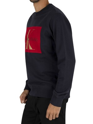 Calvin Klein Jeans Flock Monogram Sweatshirt - Night Sky/Red