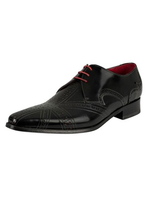 Jeffery West Polished Leather Shoes - Black/Red