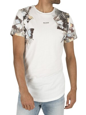 Religion Butterfly Curved Hem T-Shirt - White