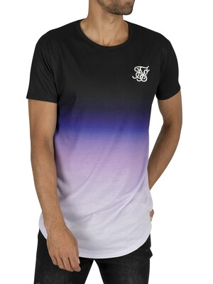 Sik Silk Curved Hem Fade T-Shirt - Black Purple/White