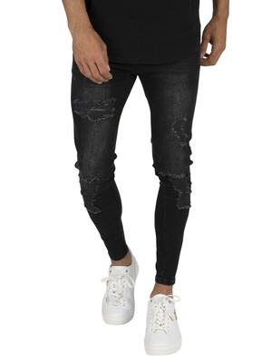 Sik Silk Distressed Skinny Jeans - Black