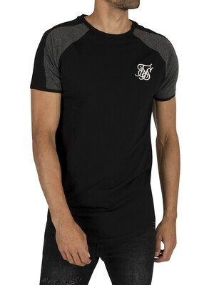 Sik Silk Raglan Contrast Panel Gym T-Shirt - Black/Dark Grey Marl