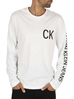 Calvin Klein Jeans On The Back Longsleeved T-Shirt - Bright White/Black