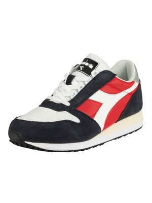 Diadora Caiman Suede Trainers - Blue Nights/Tomato