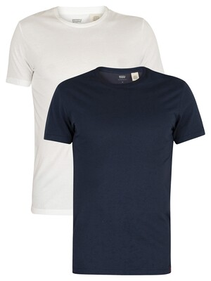 Levi's Slim 2 Pack Crew T-Shirts - Navy/White