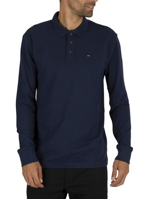 Tommy Jeans Essential Longsleeved Polo Shirt - Black Iris Navy