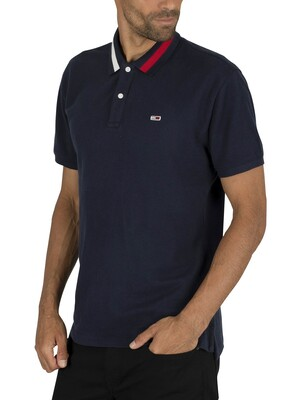 Tommy Jeans Flag Neck Polo Shirt - Black Iris Navy