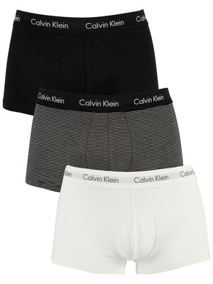 Calvin Klein 3 Pack Low Rise Trunks - White/Stripe/Black