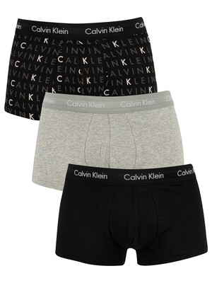 Calvin Klein 3 Pack Low Rise Trunks - Black/Grey Heather/Subdued Logo
