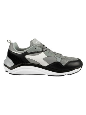 Diadora Whizz Run Leather Trainers - Ash Grey/White