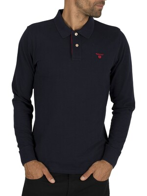 Gant Contrast Collar Pique Rugger Longsleeved Polo Shirt - Evening Blue