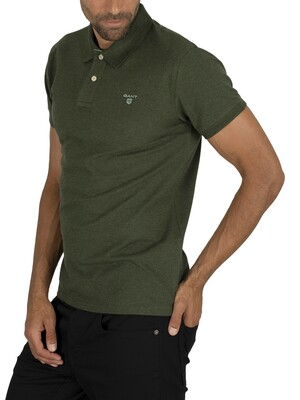 Gant Contrast Collar Pique Rugger Polo Shirt - Forest Green Mel