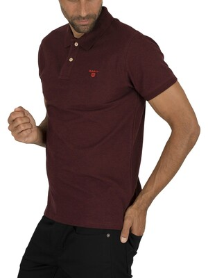 Gant Contrast Collar Pique Rugger Polo Shirt - Dark Burgundy Mel