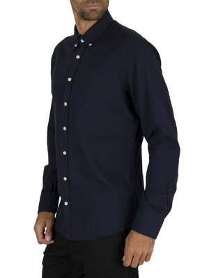 Hackett London Dye Oxford Slim Shirt - Navy