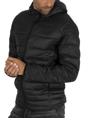 Jack & Jones Bomb Hood Puffer Jacket - Black