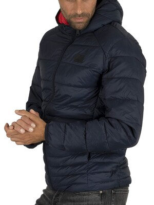Jack & Jones Bomb Hood Puffer Jacket - Navy Blazer