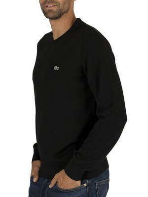 Lacoste Logo Knit Sweatshirt - Black