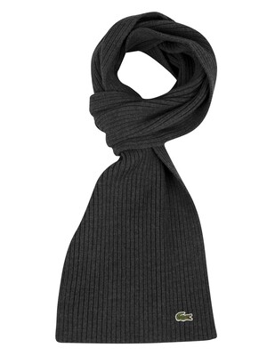Lacoste Ribbed Logo Scarf - Dark Grey