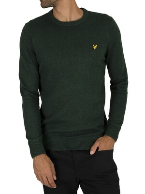 Lyle & Scott Cotton Merino Jumper - Jade Green Marl