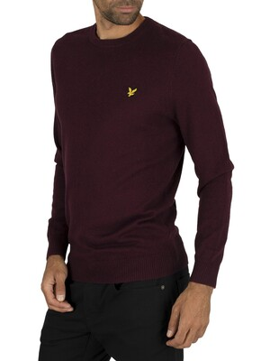 Lyle & Scott Cotton Merino Jumper - Burgundy Marl