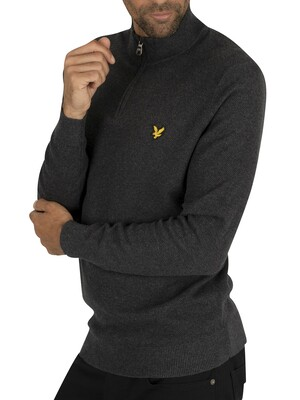 Lyle & Scott Moss Stitch 1/4 Zip Jumper - Charcoal Marl