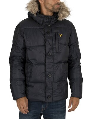 Lyle & Scott Wadded Hooded Bomber Jacket - Dark Navy