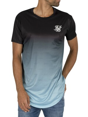 Sik Silk Curved Hem T-Shirt - Black/Light Blue