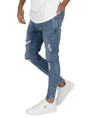 Sik Silk Distressed Skinny Jeans - Midwash
