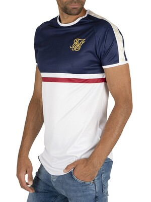 Sik Silk Raglan Tape Gym T-Shirt - Navy/White/Red