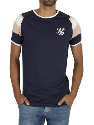 Sik Silk Sprint Gym T-Shirt - Navy/Pink/White