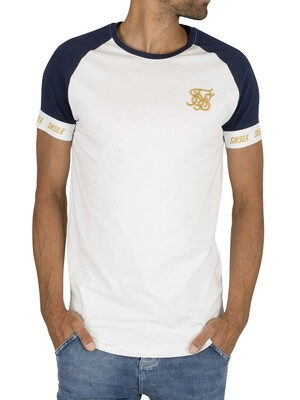 Sik Silk Tech T-Shirt - Navy/White/Gold