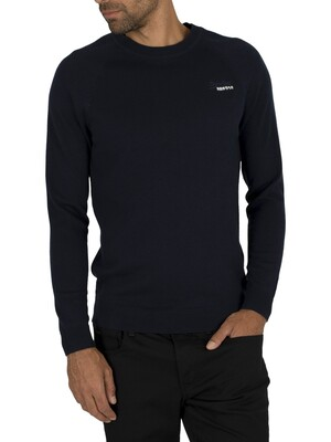 Superdry Orange Label Cotton Crew Knit - Classic Navy