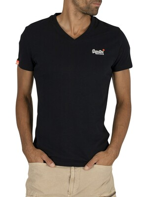 Superdry Orange Label Vintage EMB V-Neck T-Shirt - Eclipse Navy