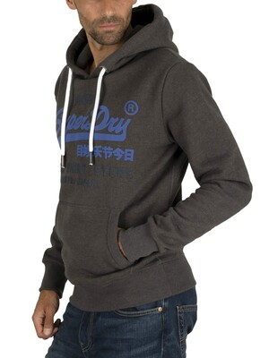 Superdry Sweat Shirt Shop Duo Pullover Hoodie - Winter Charcoal Marl