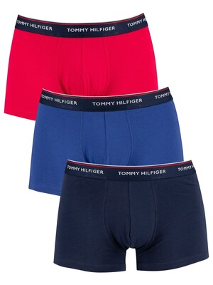 Tommy Hilfiger 3 Pack Premium Essentials Trunks - Rose Red/Deep Ultramarine/Peacoat